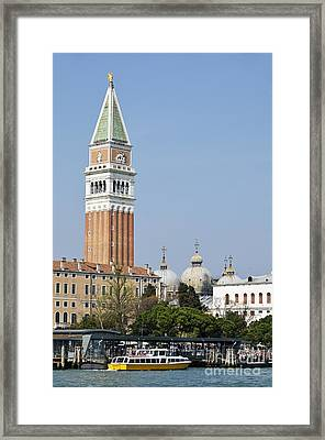 San Marco Bell Tower By Grand Canal Framed Print by Sami Sarkis