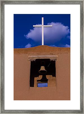 San Miguel Church Bell And Cross Framed Print by Garry Gay