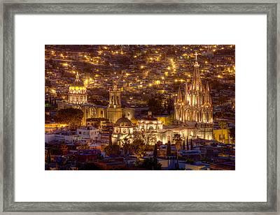 San Miguel De Allende At Night Framed Print