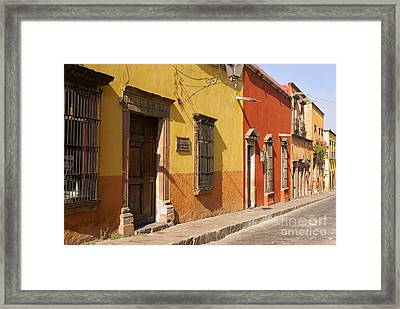 San Miguel Street Mexico Framed Print by John  Mitchell