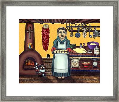 San Pascual Making Biscochitos Framed Print by Victoria De Almeida