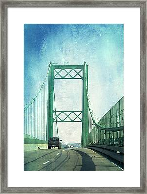 San Pedro Ca Road Bridge Textured Framed Print by Thomas Woolworth