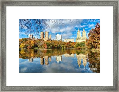 San Remo Towers Autumn Reflection Framed Print by Daniel Portalatin