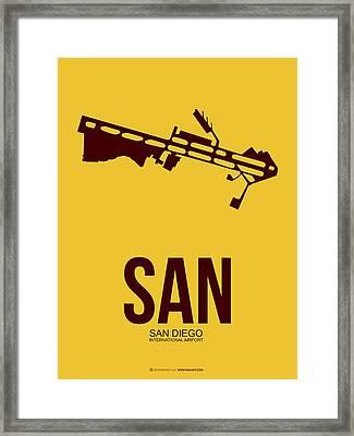 San San Diego Airport Poster 1 Framed Print by Naxart Studio
