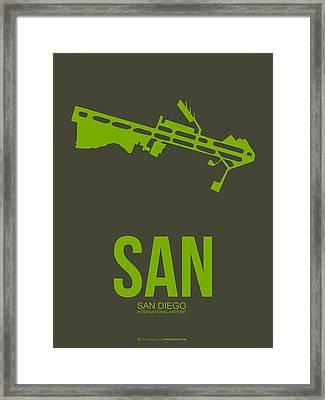 San San Diego Airport Poster 12 Framed Print by Naxart Studio