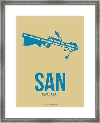 San San Diego Airport Poster 3 Framed Print by Naxart Studio