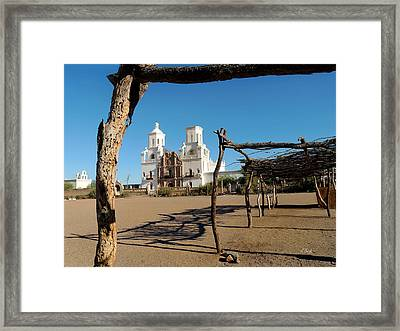 San Xavier Mission Framed Print by Gordon Beck