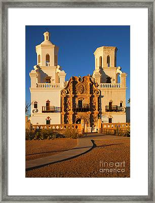 San Xavier Mission Framed Print by Mike  Dawson