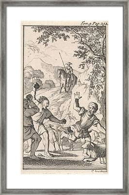 Sancho Is Stoned By Shepherds, Print Maker Caspar Luyken Framed Print by Caspar Luyken And Pieter Mortier