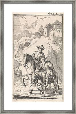 Sancho Is Tied Up By His Master On A Donkey Framed Print by Caspar Luyken And Pieter Mortier