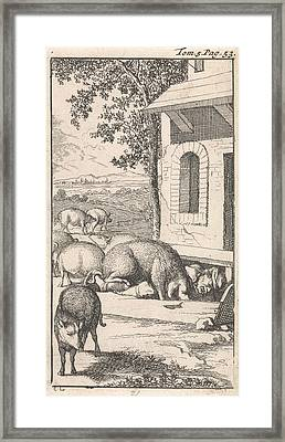 Sancho Sleeping In A Pig Trough Before A Farm Framed Print by Caspar Luyken And Pieter Mortier