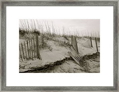 Sand And Fences Framed Print
