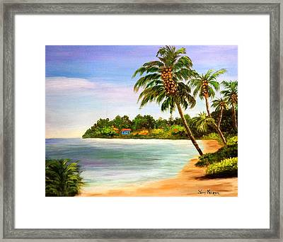 Sand And Sea Framed Print by Janis  Tafoya