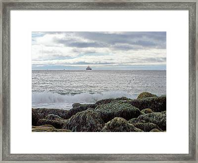 Framed Print featuring the photograph Sand Beach Acadia by Gene Cyr