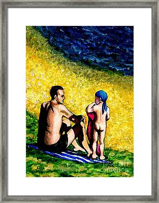 Sand Beach Father And Son Framed Print