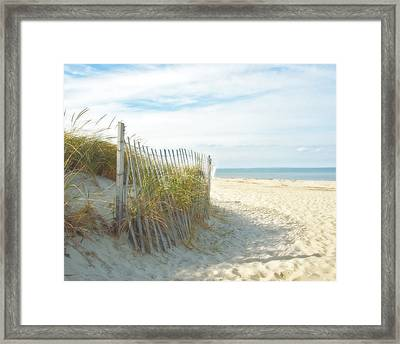 Sand Beach Ocean And Dunes Framed Print