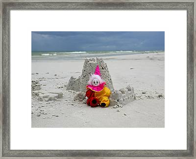 Sand Castle Jester Framed Print by William Patrick