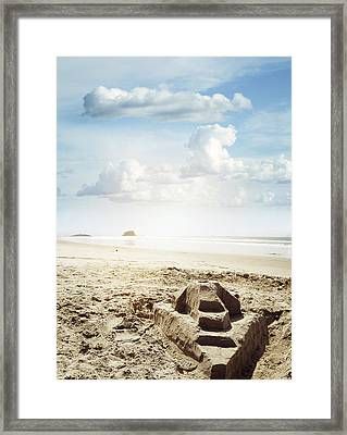 Sand Castle Framed Print by Les Cunliffe