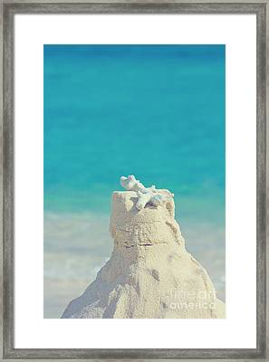 Sand Castle With Coral Against Calm Turquoise Sea 2 Framed Print