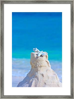 Sand Castle With Coral Against Calm Turquoise Sea Framed Print