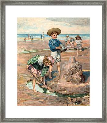 Sand Castles At The Beach Framed Print by Unknown