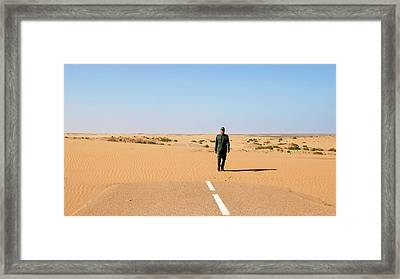 Sand-covered Road Framed Print by Thierry Berrod, Mona Lisa Production