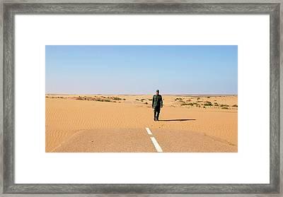 Sand-covered Road Framed Print