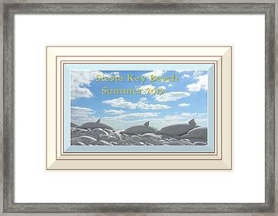 Sand Dolphins - Digitally Framed Framed Print