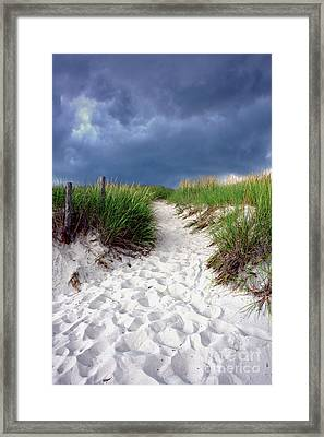 Framed Print featuring the photograph Sand Dune Under Storm by Olivier Le Queinec