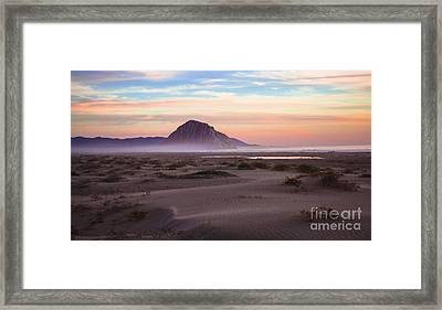 Sand Dunes At Sunset At Morro Bay Beach Shoreline  Framed Print