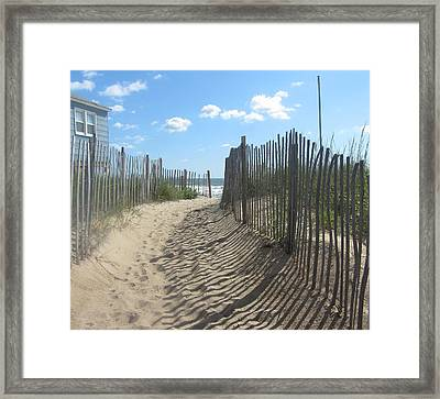 Sand Fence At Southern Shores  Framed Print by Cathy Lindsey
