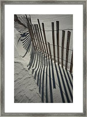 Sand Fence During Winter On The Beach Framed Print by Randall Nyhof