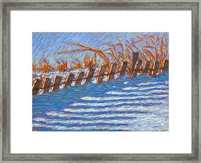 Sand Fence Winter Framed Print by Bryan Allen