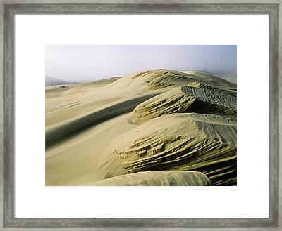 Sand Patterns Created By The Wind Framed Print by Robert L. Potts