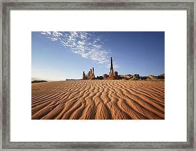 Sand Ripples And Rock Formationmonument Framed Print