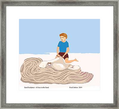 Sand Sculpture - A Face Framed Print by Fred Jinkins
