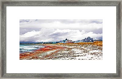 Framed Print featuring the photograph Sand Snow And Seaweed Photo Art by Constantine Gregory
