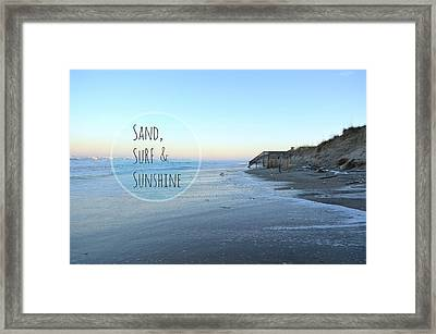 Sand Surf Sunshine Framed Print