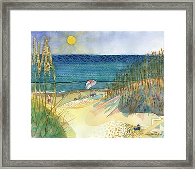 Sandals And Lotion Framed Print