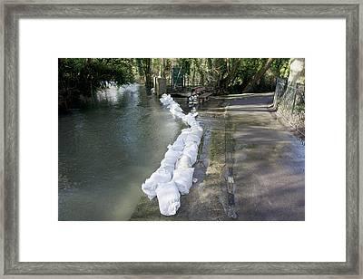 Sandbag Flood Defences Framed Print by Sheila Terry