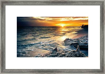 Framed Print featuring the photograph Sandcastle Sunset Beach-destin Florida Orange Sea Shore Art by Eszra