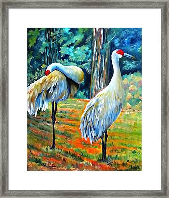 Sandhill Cranes At Twilight Framed Print