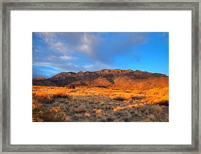 Sandia Crest Sunset Framed Print by Alan Vance Ley
