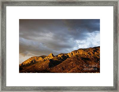 Framed Print featuring the photograph Sandia Mountains by Gina Savage