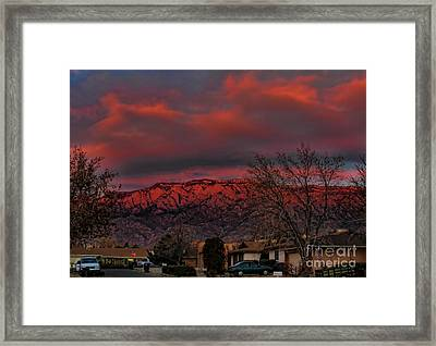 Sandia Moutains At Sunset Framed Print