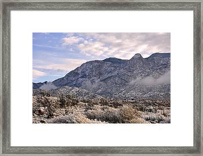 Sandia Snow Framed Print by Gina Savage