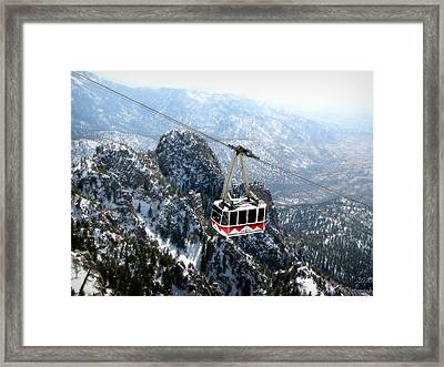 Sandia Tram Above The Snowy Peaks Framed Print