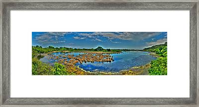 Framed Print featuring the photograph Sandpiper Pond Panorama by Ed Roberts