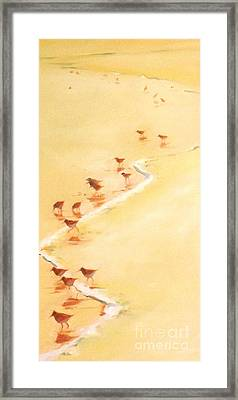 Sandpiper Promenage Framed Print by Mary Hubley