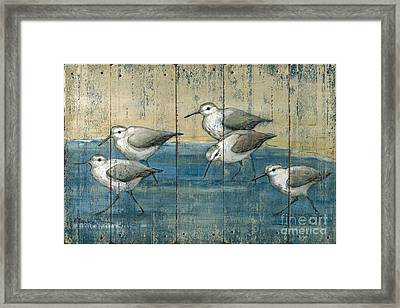 Sandpipers Oil Distressed Framed Print by Paul Brent
